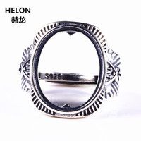 Art Deco 13x16mm Oval Cabochon Semi Mount Engagement Ring 925 Sterling Silver Fine Jewelry Setting For