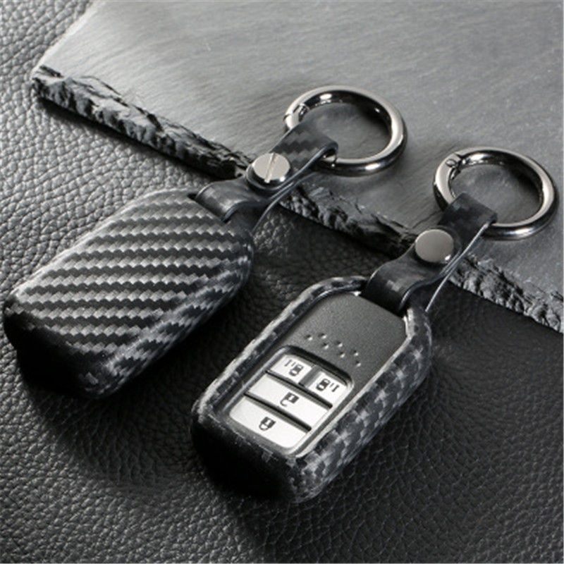 Peacekey Carbon fiber silicone rubber car remote key fob cover case for Honda 2016 2017 CRV Pilot Accord Civic Fit Freed keyless jignyuqin 3 buttons remote key shell for honda accord insight crv civic odyssey pilot ridgeline car alarm keyless entry fob case