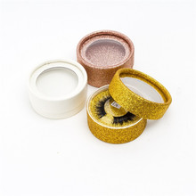 BES 10 Round Glitter Box 3D Strip Mink Eyelash Extension Empty False Shiny Lash With Plastic Tray
