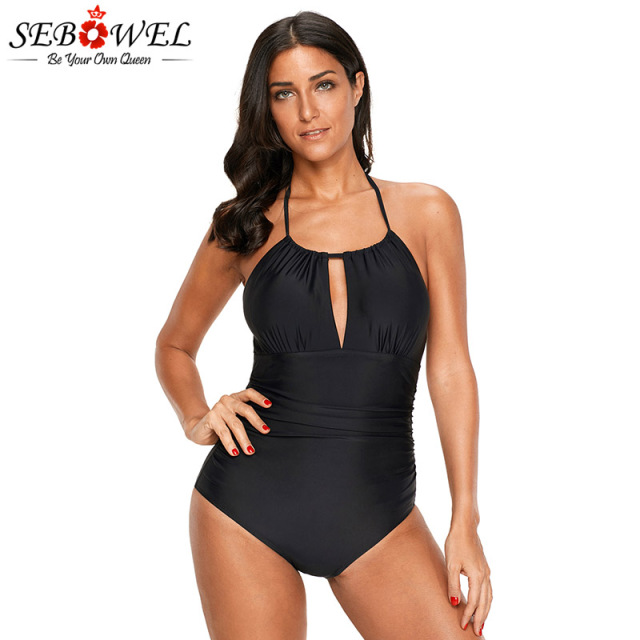 0f94f9292ba41 SEBOWEL Plus size Sexy Black High Waisted Halter One Piece Swimsuit Women  Lacing Backless Monokini 1