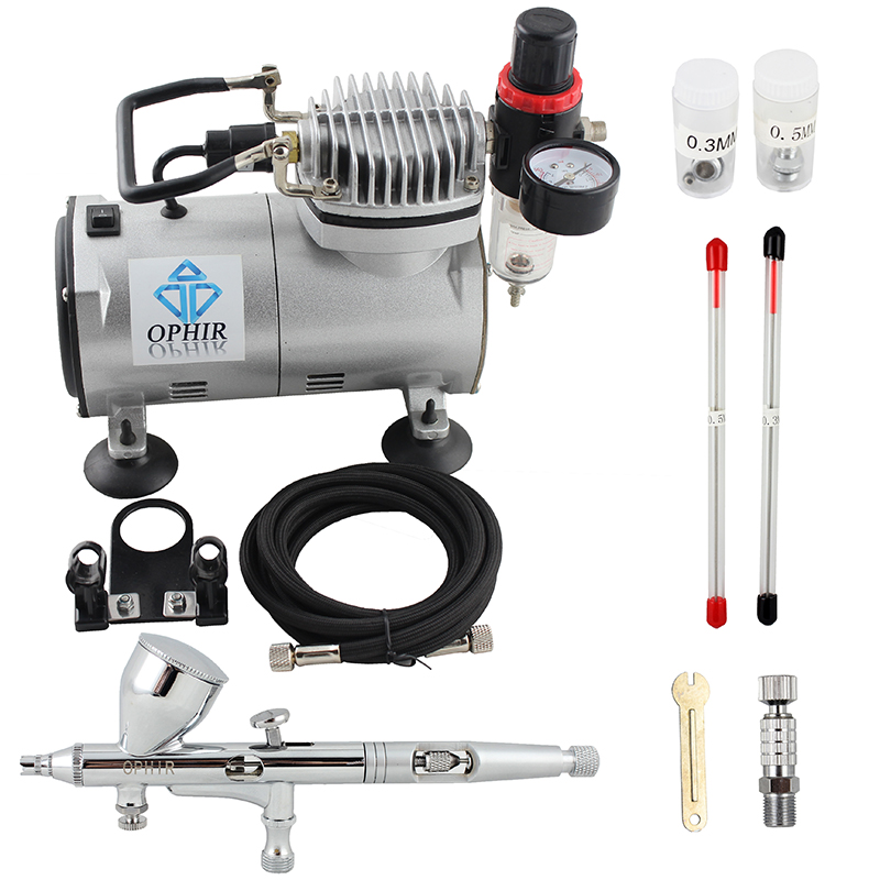 OPHIR Pro 3 Tips Dual Action Airbrush Kit with Air Compressor Air Brush Gravity Paint Gun for Nail Art Model Hobby _AC089 070 in Body Paint from Beauty Health