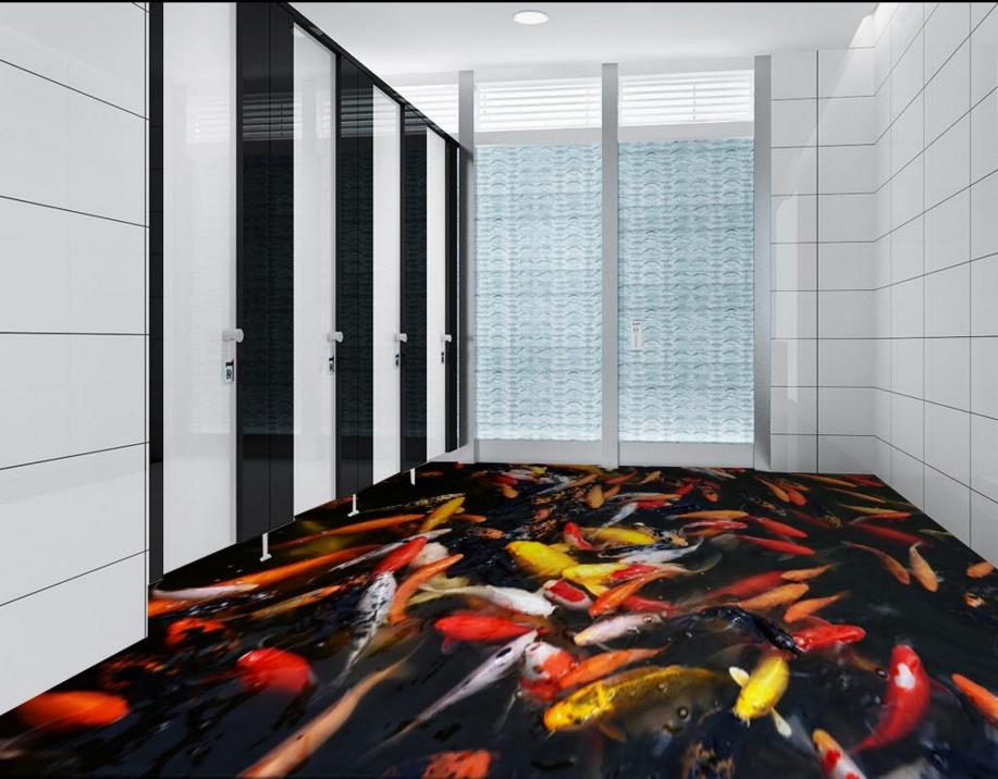 Custom living room bedroom 3d floor tiles waterproof 3d bathroom flooring pvc self-adhesive wallpaper free shipping photo floor bathroom thickened custom living room stereoscopic wallpaper flooring 3d paper cut pattern floor