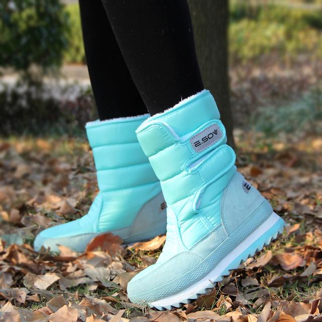 Weise inverno espessamento térmica algodão-acolchoado sapatos botas sapatos de neve das mulheres sapatos slip-resistente à prova d' água botas de neve algodão