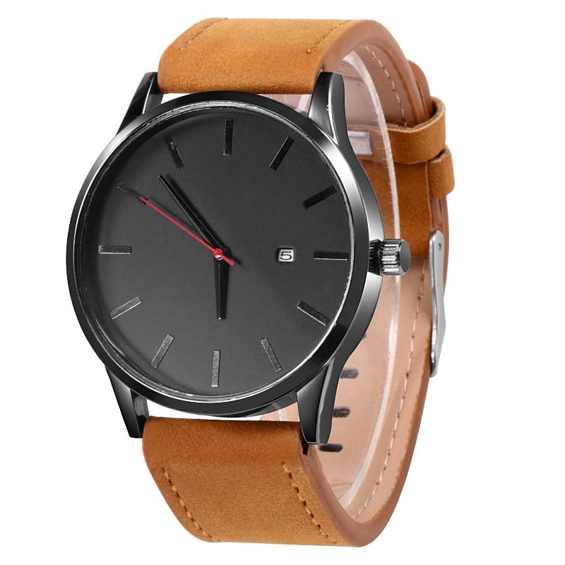 Simple Men Quartz Watch Relogio Masculino Military Sport Wristwatch Leather Strap Mens Reloj Complete Calendar Watches Hom Saati 2