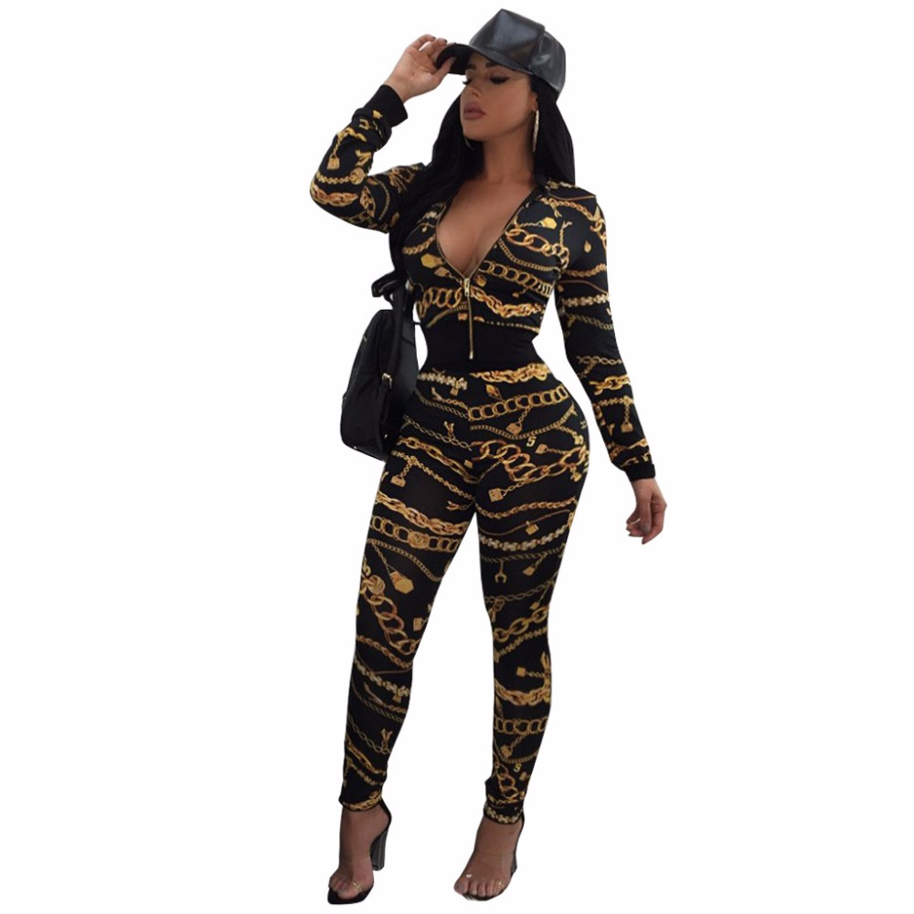 f0855910bdf9 Aletterhin Overalls Women Gold Chain Printed Jumpsuits Hip Hop Style White  Black Rompers 2018 Lady Jackets Top and Pants Outfits