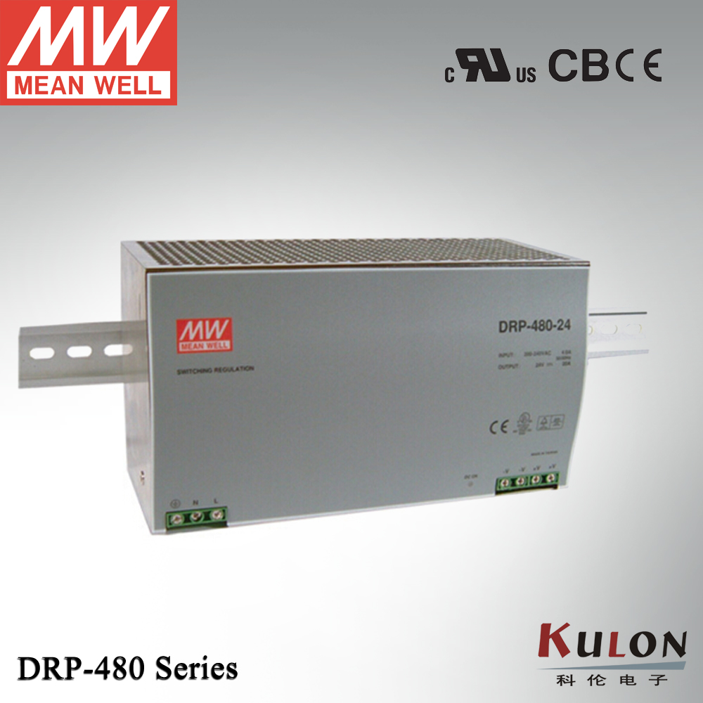 Original Meanwell DRP-480-24 480 W 20A 24 V industriel DIN Rail alimentation unique sortie avec fonction PFCOriginal Meanwell DRP-480-24 480 W 20A 24 V industriel DIN Rail alimentation unique sortie avec fonction PFC