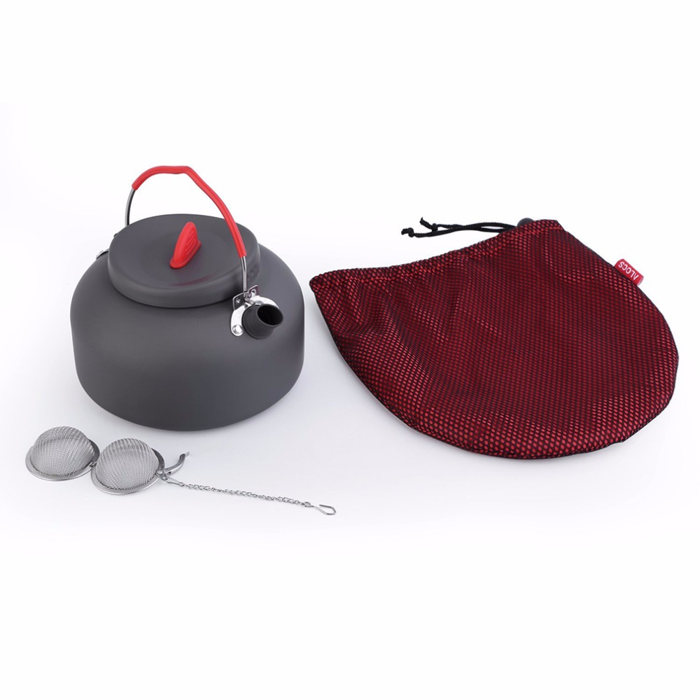 ALOCS 1.4L 1 Person Outdoor Cookware Aluminum Kettle Outdoor Camping Picnic Pot with Stainless Tea filter Ball In Bag CW-K03