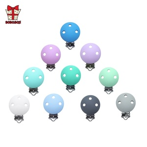 Image 4 - BOBO.BOX 10pcs Round Shaped Pacifier Clip Silicone Bead Baby Teether Soother Nursing Jewelry Toy Accessory Holder Teething Clips