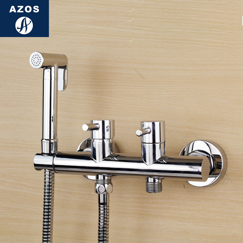 Azos Bidet Faucet Pressurized Sprinkler Head Brass Chrome Cold and Hot Switch Two Function Mop Pond Pet Bath Bathroom Round PJPQ