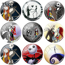 TAFREE The Nightmare Before Christmas Jack Skellington And Sally Photo 25mm Glass Cabochon Dome Flatback DIY Making Jewelry the nightmare before christmas sally jack skellington dr finkelstein santa multilayer colorful pu short wallet type a