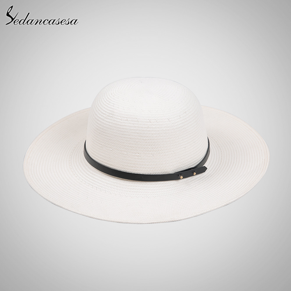 Sedancasesa white sun hats for women panama straw hat summer Large brim floppy  beach hat wide brim sun protect holiday SW012519 -in Sun Hats from Apparel  ... 331d4599603