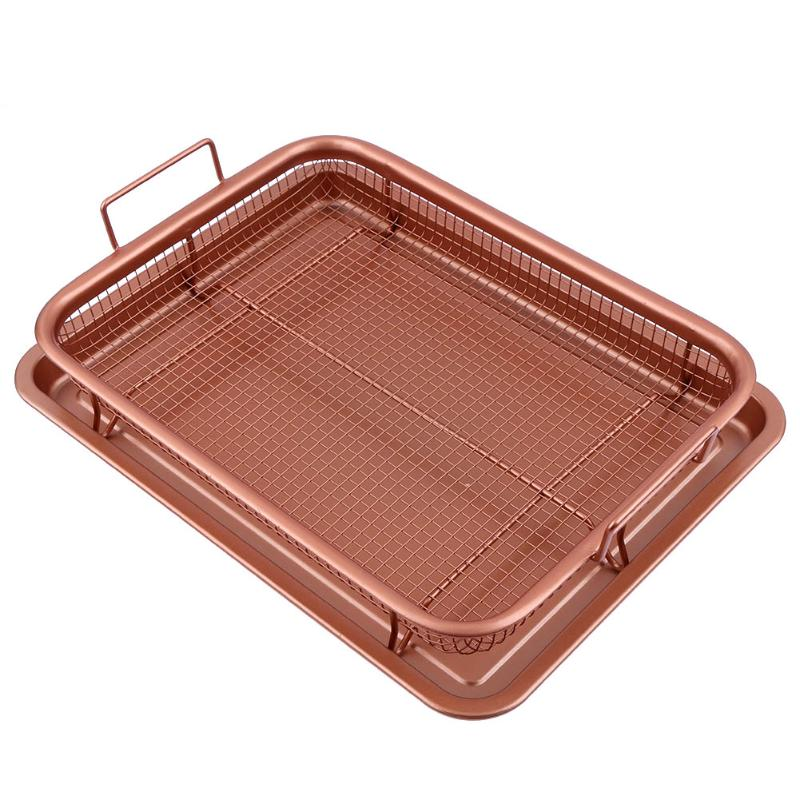 13inch Copper Air Fryer Copper Crisper Food Frying Basket Tray Non Stick Oil Filter Mesh