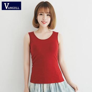 VANGULL women's solid cotton vest female slim vest