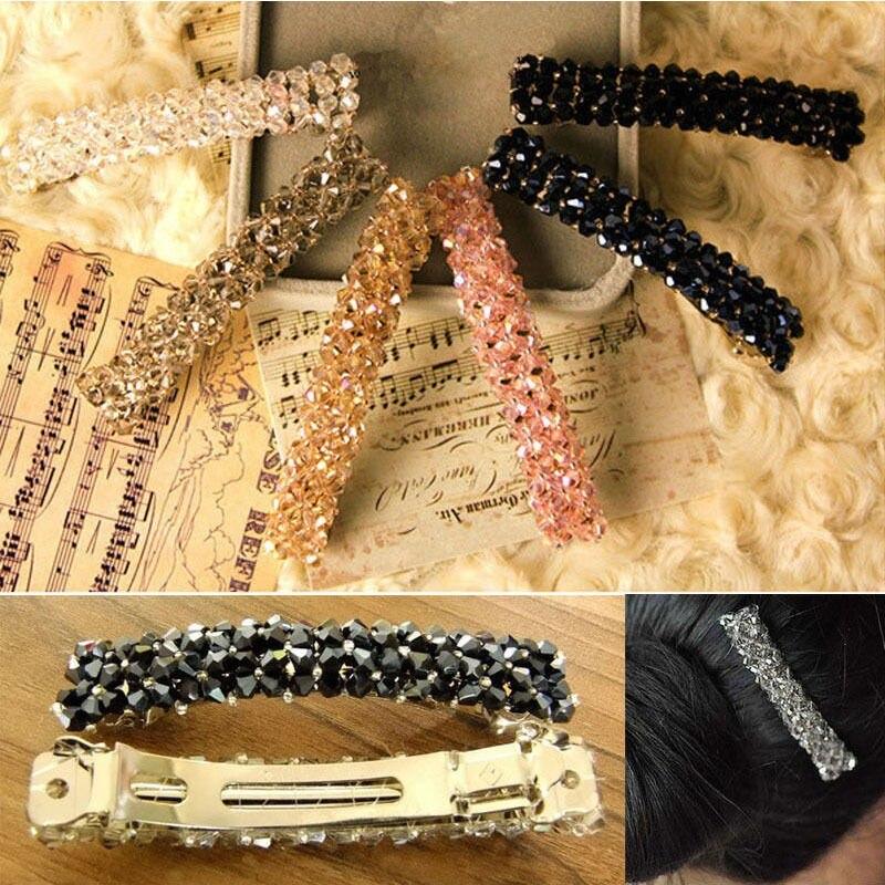 HTB10W8PJFXXXXX7XFXXq6xXFXXXK Women's Sparkling Rhinestone Crystal Beads Hair Clip Barrette - 6 Colors