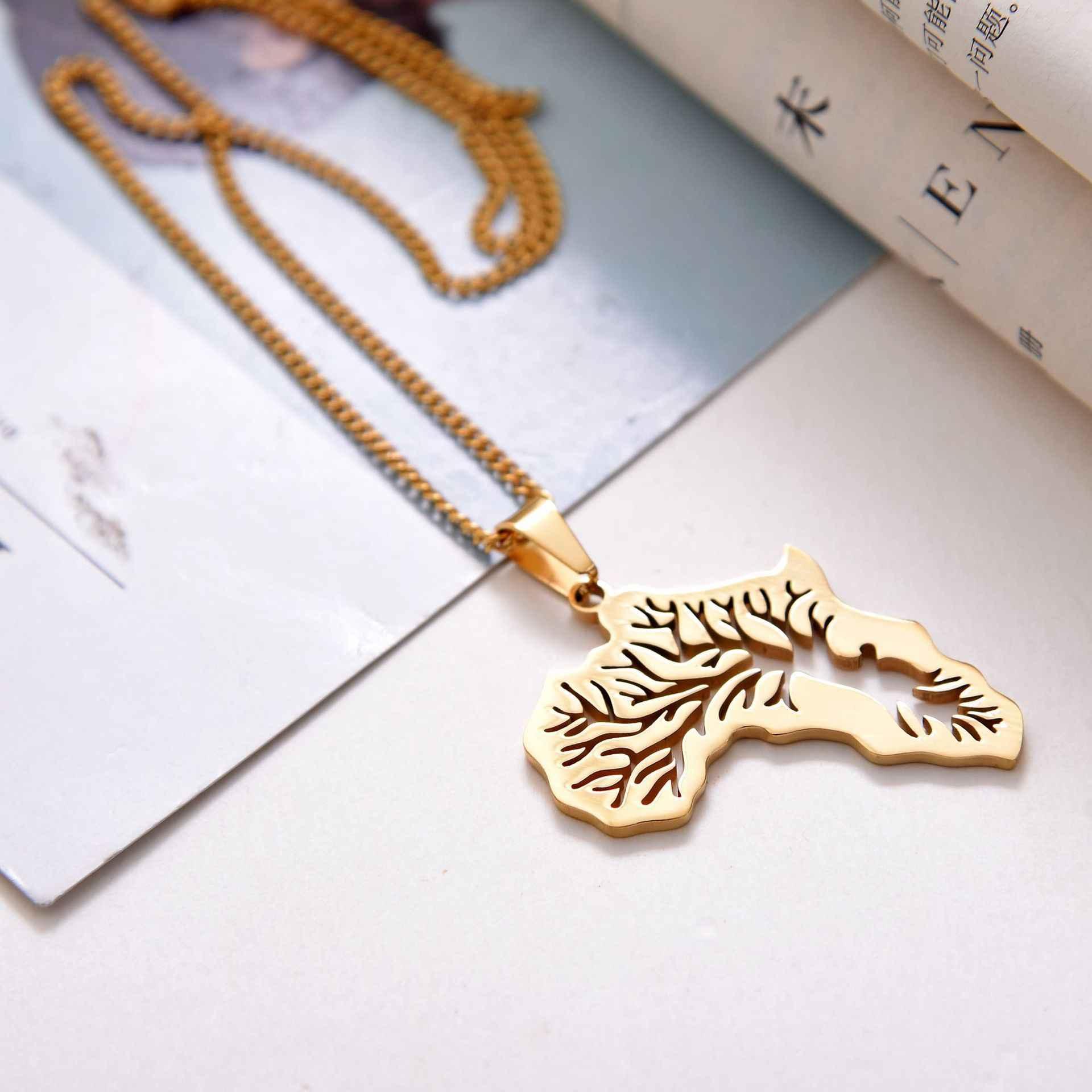 สแตนเลสแอฟริกาแผนที่จี้สร้อยคอ Tree of Life Gold สร้อยคอสร้อยคอสำหรับผู้หญิง Party เครื่องประดับ Dropshipping