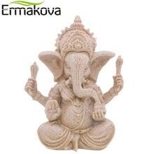 Ермакова РУЧНОЙ РАБОТЫ ИНДИЙСКИЙ Ганеша фигурка фэншуй слон Скульптура головой слона индуистского бога натуральный Песчаник статуя Будды