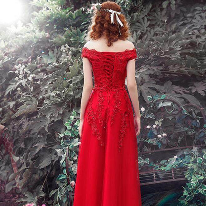 a9b946aa5 Barco Cuello Rojo Bordado Delgado Vestidos de Novia Simple Posterior con cordones  Patry Vestidos Novia Piso longitud Vestidos De Festa LF29 en Vestidos de ...