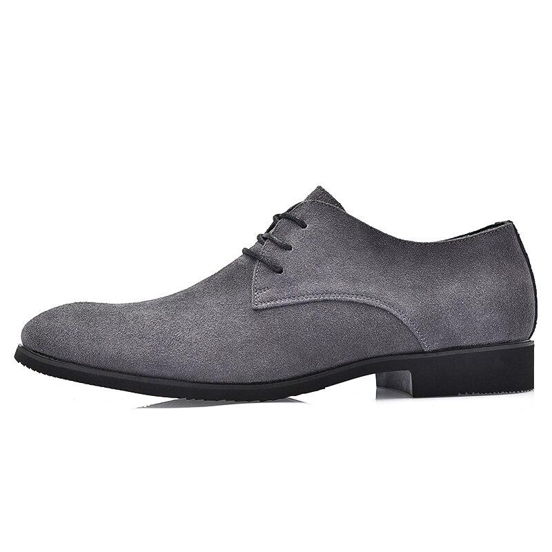 De Suede Italien Travail Designer Hommes Noir Homme Mâle Mariage Formelle Véritable Élégant En gris Pour Robe Chaussures Cuir Oxford Appartements pBPfngfR