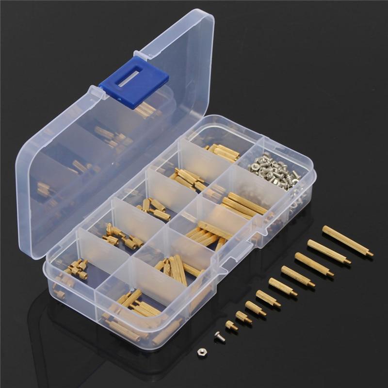 MTGATHER 270Pcs/Set M2 3-25mm Male to Female Brass PCB Standoff Screw Nut Assortment Kit Set 230pcs m2 5 2 5mm brass standoff spacer male x female with m2 5 6 pan head screws and m2 5 hex nut assortment kit
