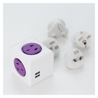 New Smart Home Power Cube Socket EU US UK AU Travel Plugs 4 Outlets 2 USB
