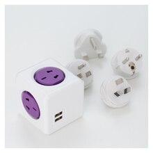 New Smart Home Power Cube Socket,EU/US / UK / AU Travel Plugs 4 Outlets 2 USB Ports Power Strip Extension Multi Socket