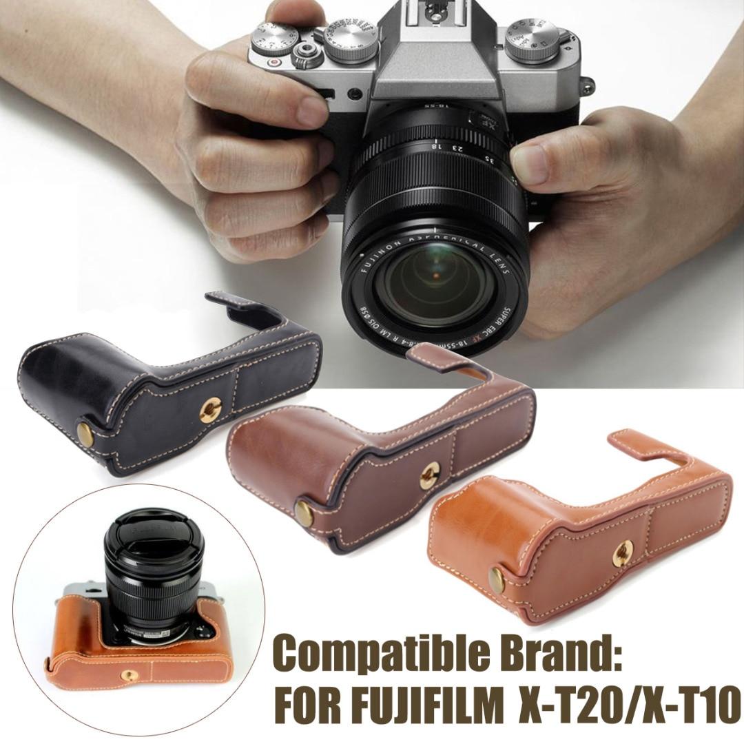 Mayitr 1 pc 3 Couleurs PU Demi-Caisse de Cuir Anti-Sismique Caméra Pour Fuji Fujifilm X-T20/XT20/X T20 X-T10 Appareil Photo Numérique