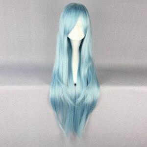 Image 4 - Save Art Online, термостойкий парик для косплея из длинных синих и коричневых волос, парик + шапочка для парика