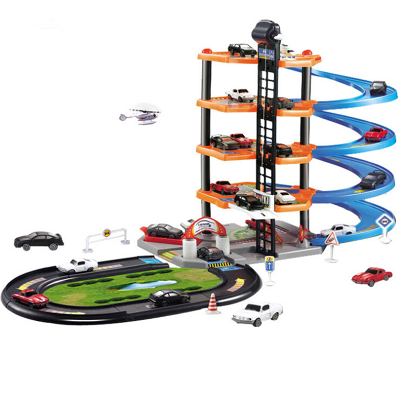cartoon 5 layers car stereo track parking lot toys automatic race carros de brinquedo car boys