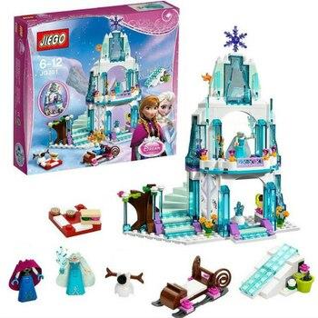 316 Pcs Dream Princess Elsa Kastil Es Putri Anna Set Model Blok Bangunan Hadiah Mainan Kompatibel dengan Teman-teman