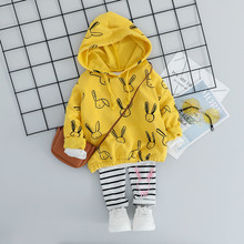 Children Clothing Sets Baby Girls Clothes Infant Suits Autumn Cartoon Hooded T Shirt Stripe Pants Toddler Leisure sport Costume autumn baby girls casual long sleeve cartoon print t shirt tops stripe pants suits costume set
