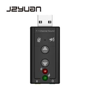 JZYuan Mini External USB 2.0 Sound Card 7.1 Channel 3D Audio Adapter Converter + 3.5mm Earphone MIC Interface for PC Computer