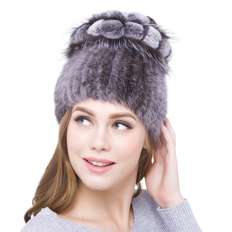 JKP 2018 Genuine natural Mink Fur Hat Winter Warm patchwork real fox and rabbit fur fashion Hat   Skullies   &   Beanies   DHY18-04