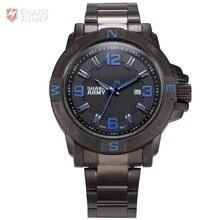 Shark Army Blue Auto Date Calendar Display Stainless Steel Band Analog Quartz Military Male Clock Men