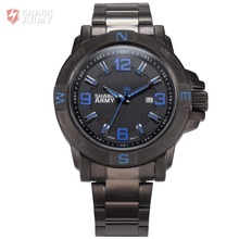 Shark Army Blue Auto Date Calendar Display Stainless Steel Band Analog Quartz Military Male Clock Men Boy Sports Watches /SAW149