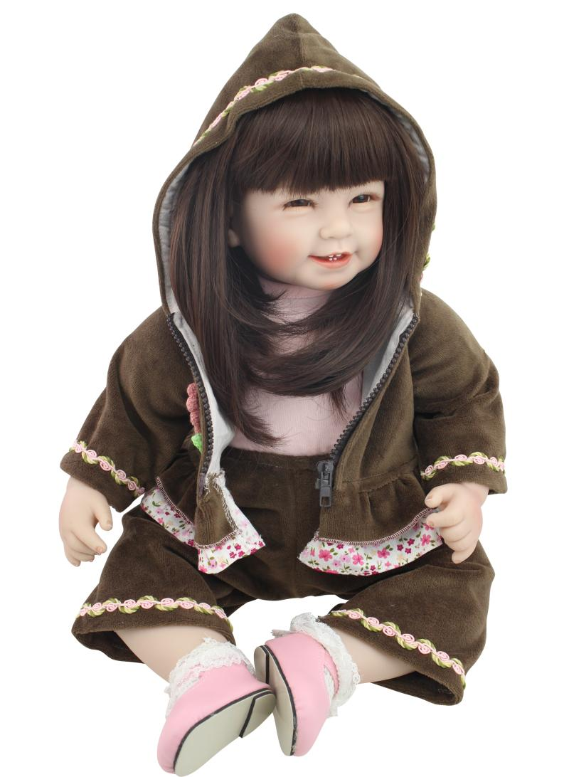 NPK Bebe Reborn smile Doll Lifelike 55 cm baby alive boneca Realistic Soft Cotton Body Silicone Girls Dolls For Kids Xmas gift npk cute smile baby girl dolls real soft silicone reborn babies 55 cm with fiber hair realistic boneca reborn doll