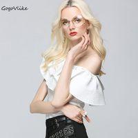 Sexy White Irregular Skew Collar Ruffles Shirts 2017 Women Open Shoulder Backless OL Blouse Tops Sleeveless