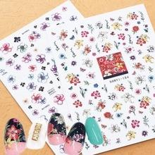 Newest HANYI-111 184 mixed flower pattern 3d nail stickers Japan style nail decal self-adhesive DIY nail decoration tools недорого