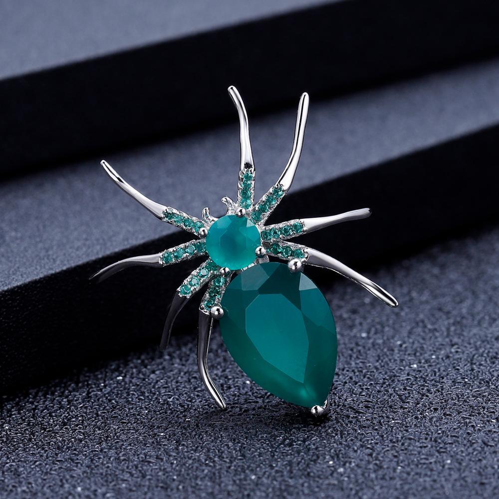 GEM'S BALLET Natural Green Agate Gemstone Brooch 925 Sterling Sliver Handmade Design Spider Brooches For Women Fine Jewelry-1
