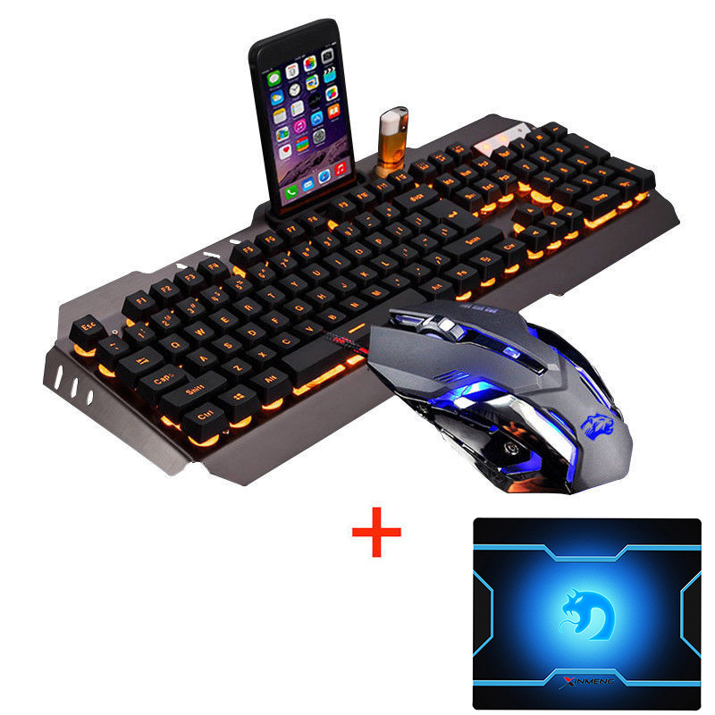M398 Wired Yellow/Rainbow LED Backlit Ergonomic Usb Gaming Keyboard Mouse Combo + 3200DPI Optical Gamer Mouse Sets + Mouse pad