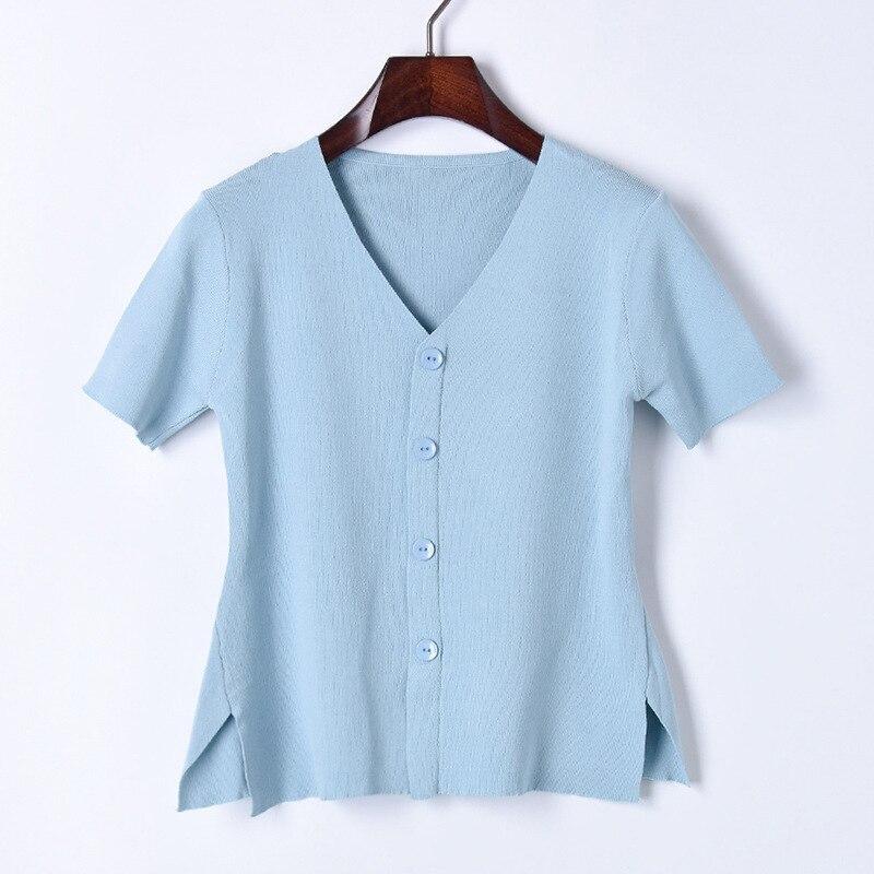 De Punto Todo Nuevo Pure V Moda Casual Manga white Camisa Cuello sky La Tops Black Que Mujeres Blusa Estilo Blue Basa 2018 Blue Color Las dark Verano Corta vawq55z