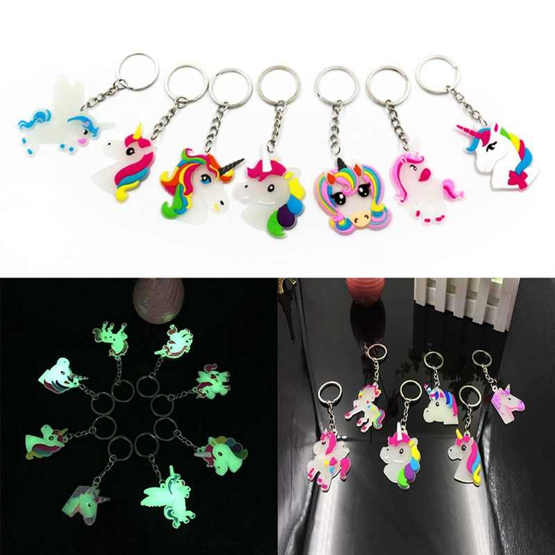 Phát sáng Trong bóng Tối Nhỏ Câu Chuyện Cổ Tích Unicorn Keychain Chủ Chaveiro Túi Quyến Rũ Móc Chìa Khóa Mặt Dây Chuyền Cô Gái Phụ Nữ Quà Tặng Trang Sức