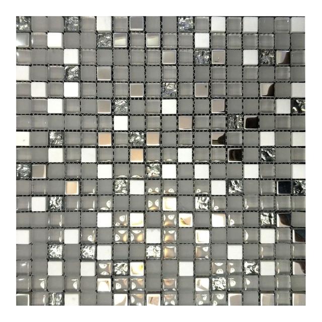 170 73 Pierre Blanche Argent Placage Cristal Verre Mosaique Tuile Pour Mur Cuisine Dosseret Salle De Bain Salle D Exposition Decorer Maison Dans