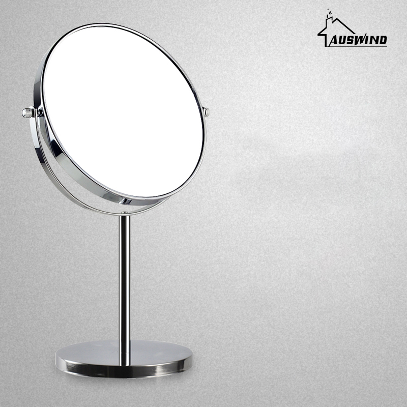 Bath Mirrors 8 Inch Round Wall Mirror Table Magnifying Mirrors Makeup Cosmetic Golden Double Side Brass Mirror For Bathroom Sj16 large 8 inch fashion high definition desktop makeup mirror 2 face metal bathroom mirror 3x magnifying round pin 360 rotating