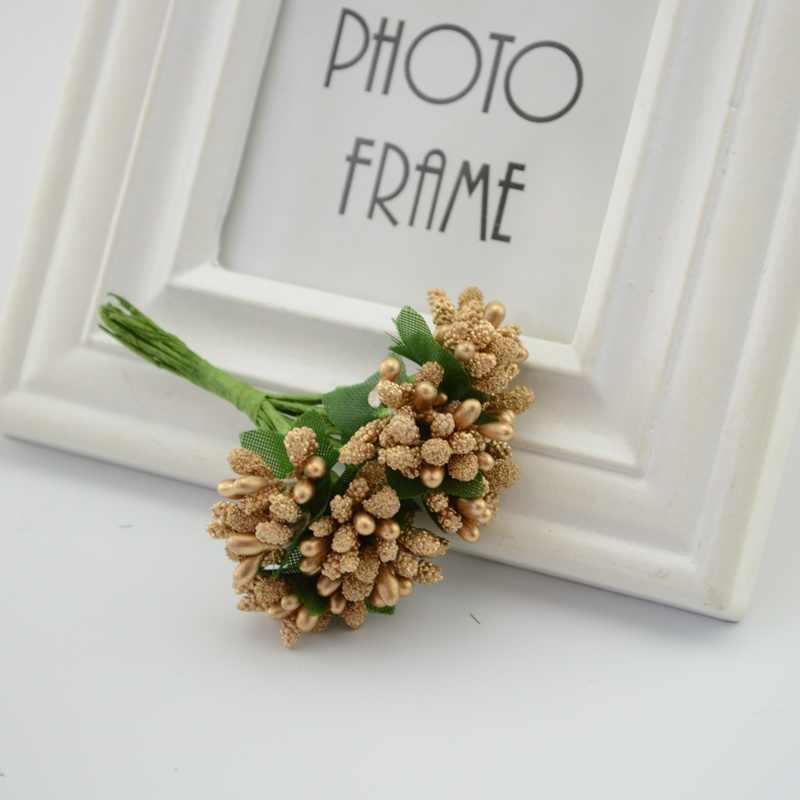 12 Pcs/lot Mulberry Pesta Buatan Karangan Bunga Bunga Bahan Benang Sari Kawat Batang/Pernikahan Daun Benang Sari Pernikahan Kotak Dekorasi