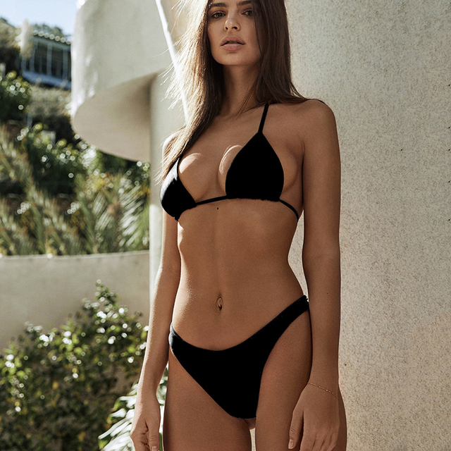 a10e8dd923d String Black Micro Bikini 2018 Swimwear Women Mini Thong Bikinis Set Sexy Halter  Top Swimsuit Female Brazilian Swim Bathing Suit