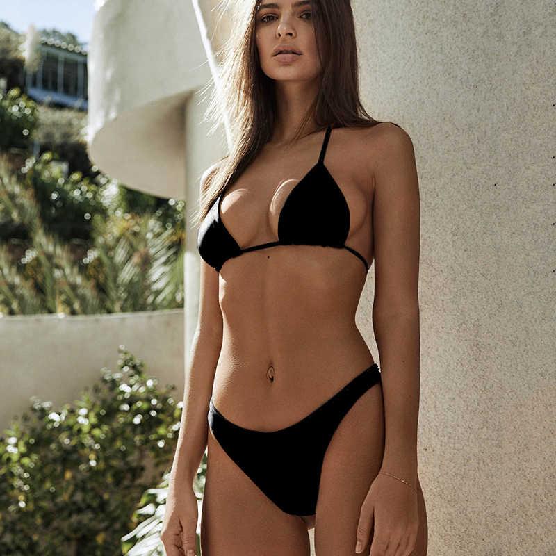 111b69bc61d String Black Micro Bikini 2018 Swimwear Women Mini Thong Bikinis Set Sexy  Halter Top Swimsuit Female