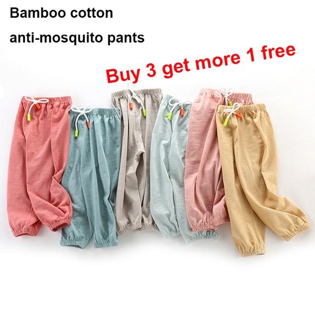 Детские бамбуковые хлопковые противомоскитные штаны весенне-летние штаны-шаровары для малышей летние длинные штаны с рисунком комаров для мальчиков и девочек детские штаны