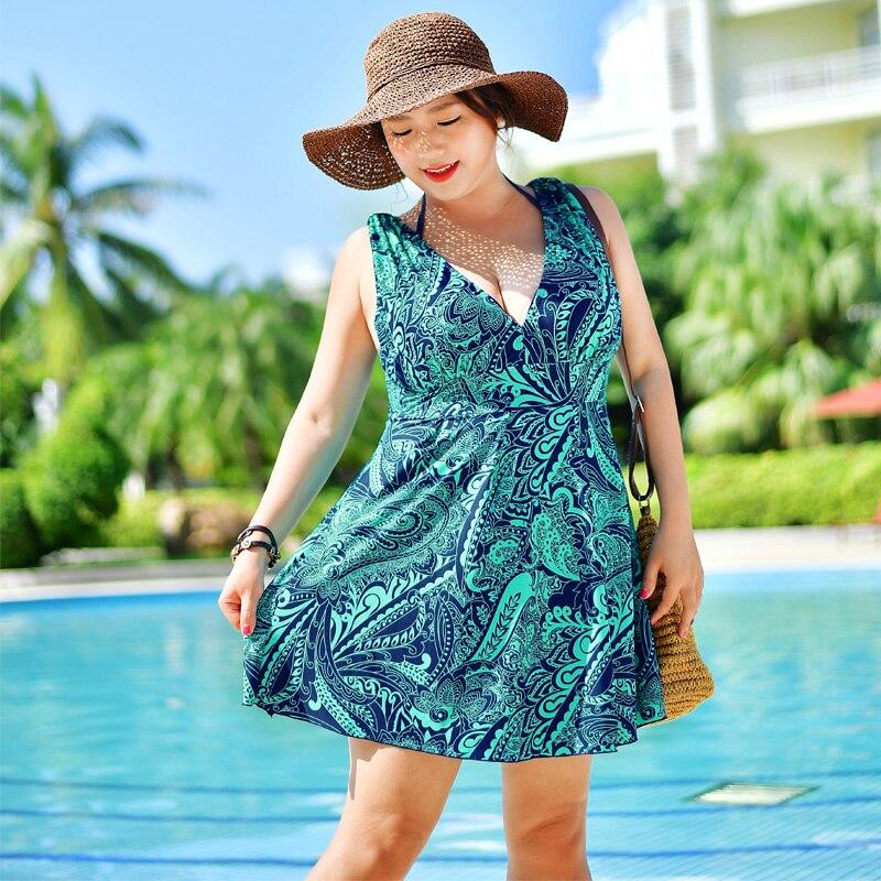 2017 New Swimsuit Dress 4 Colors Plus Size Swimwear Women One Piece