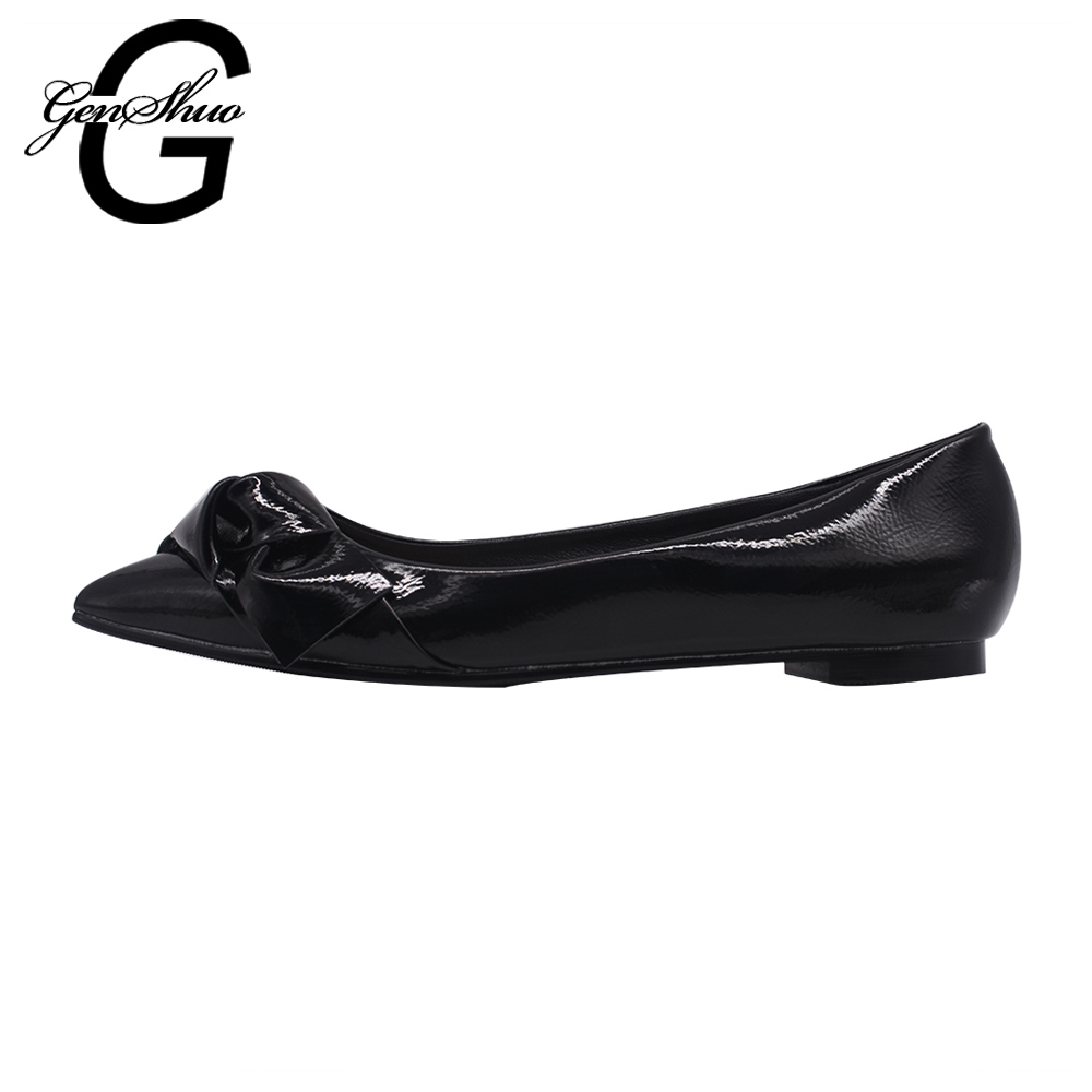 GENSHUO Fashion Women's shoes Comfortable Pointed toe Flat Shoes Summer Ballet Flats Large Size Shoes Women Flats Black fashion pointed toe women shoes solid patent pu brand shoes women flats summer style ballet princess shoes for casual crystal