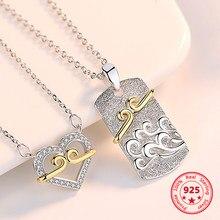 S925 prata esterlina apertado charme casal colar homem e mulher pingente simples criativo clavícula corrente